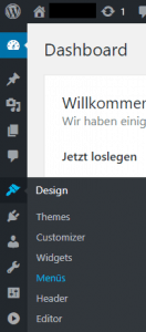 Wordpress Designmenü