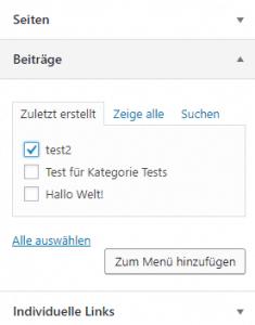 Wordpressmenü Inhalte