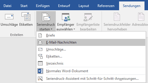 Serienmailing mit Microsoft Word